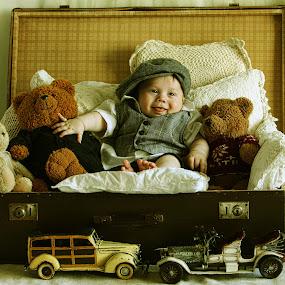 Baby and teddy bears by Pirjo-Leena Bauer - Babies & Children Children Candids