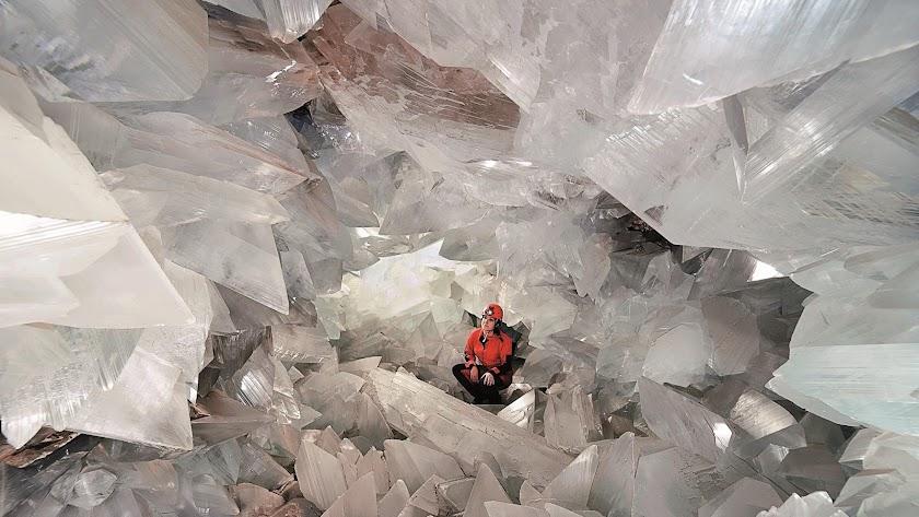 Imagen del interior de la geoda gigante de Pulpí