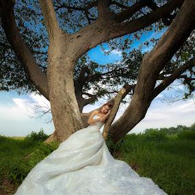 Lonely Bride by Nino Collino - Wedding Bride ( model, wedding, beauty, bride, lonely )
