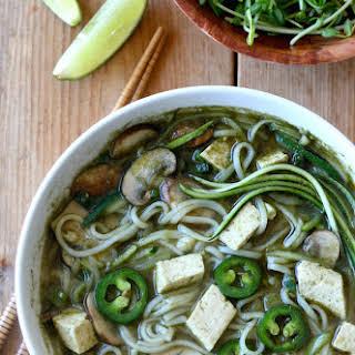 Thai Noodle Soup with Tofu, Mushroom & Zucchini.
