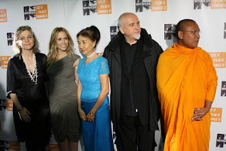 "Photo: NEW YORK, NY - DECEMBER 02:  (L-R) Executive Director WITNESS Yvette Alberdingk Thijm, musician Sheryl Crow, Dr. Pung Chhiv Kek, musician Peter Gabriel and ""the multi-media monk"" Venerable Luon Sovath attend 6th Annual Focus For Change: Benefit Dinner And Concert at Roseland Ballroom on December 2, 2010 in New York City.  (Photo by Neilson Barnard/Getty Images)"