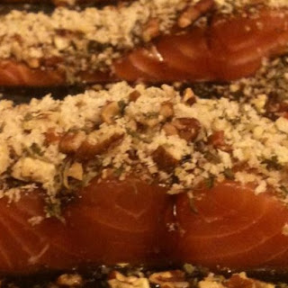 Glazed Pecan-Crusted Baked Salmon.