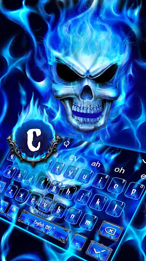 Blue Fire Flaming Skull Keyboard 10001003 screenshots 2