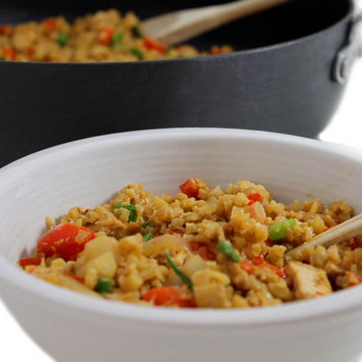 Skinny Thai Chicken, Peanut and Cauliflower Rice Stir-Fry