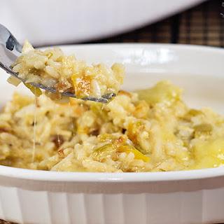 Cheesy Green Chile, Chicken and Rice Casserole.