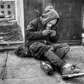 On the street in winter by Mark Lawrence - Black & White Street & Candid ( winter, black and white, homeless, man )