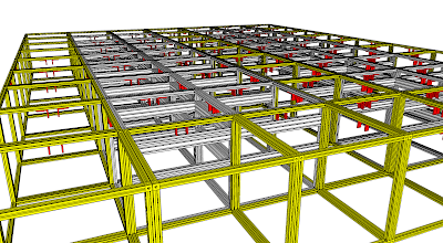 Photo: Yellow cubes denote pallet mover pathways