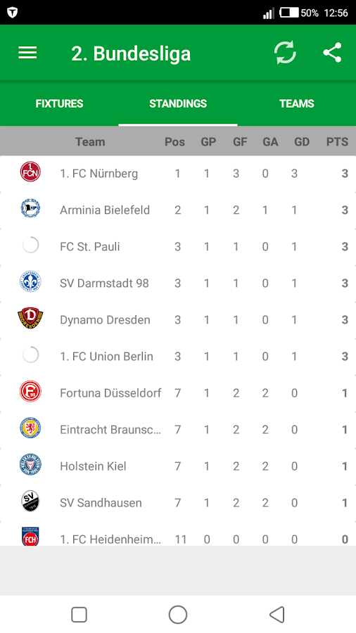 Fixtures for bundesliga android apps on google play - German league fixtures results table ...