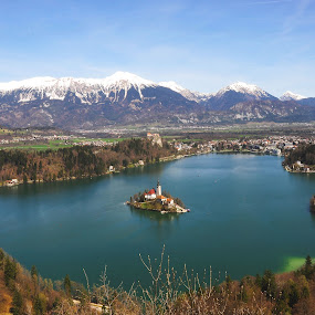 wonderful view by Renata Peterman - Landscapes Mountains & Hills ( mountains, view, castle, island, spring colours, lake )