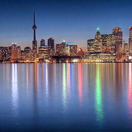 Toronto at Night by Leon Efimov - City,  Street & Park  Night ( ontario, toronto, leon efimov, shoreline, night, cityscape, downtown, landscape )