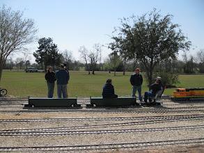 Photo: Train crews talking.  HALS 2009-0228