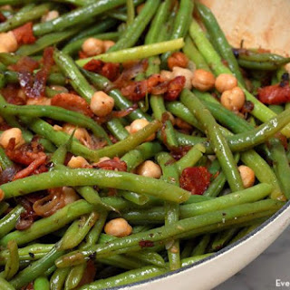 Bacon-braised Green Beans And Chickpeas.