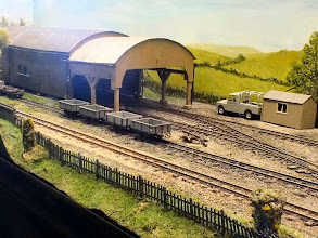 Photo: 012 Mid afternoon and all quiet at the carriage shed area with just some empty wagons and an unoccupied Landrover present .