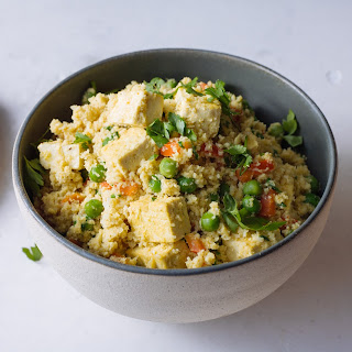 Curried Coconut Cauliflower Rice With Red Pepper, Edamame & Tofu