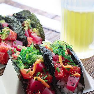 Sushi Tacos with Salmon and Tuna.