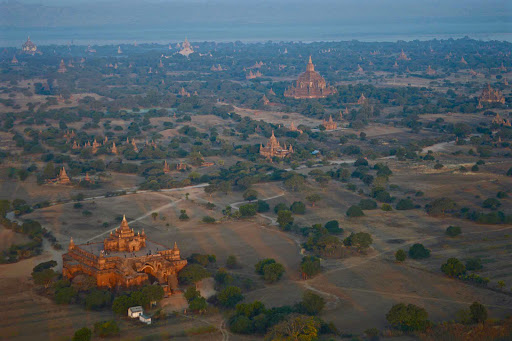 Bagan-at-daybreak - Daybreak unfolds over mystical Bagan as we take in the sights from our hot air balloon.