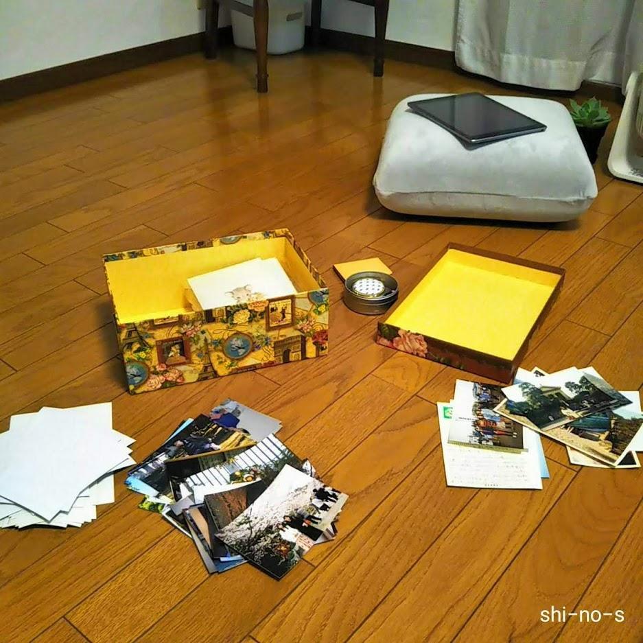 リビングの床で、写真を広げて整理をしている