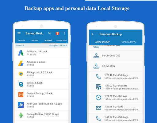 Backup and Restore - App, Contacts, Sms , Calllogs 2.0.50.98 screenshots 5