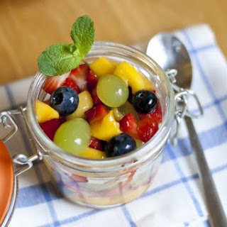 Fruit Salad with Honey-Lime-Dressing.