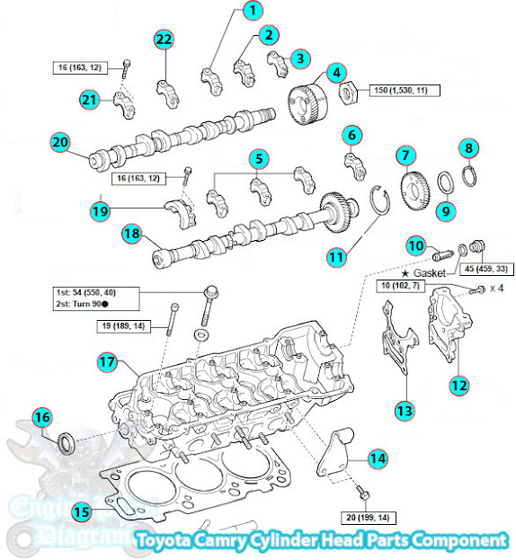 2002 2006 Toyota Camry Cylinder Head Parts Component