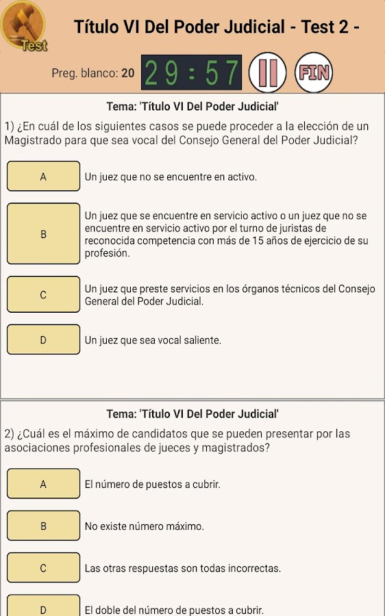 TestOpos Justicia- screenshot