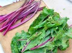Add the garlic, onion,and chopped up beet stems and cook for a minute. Tear...