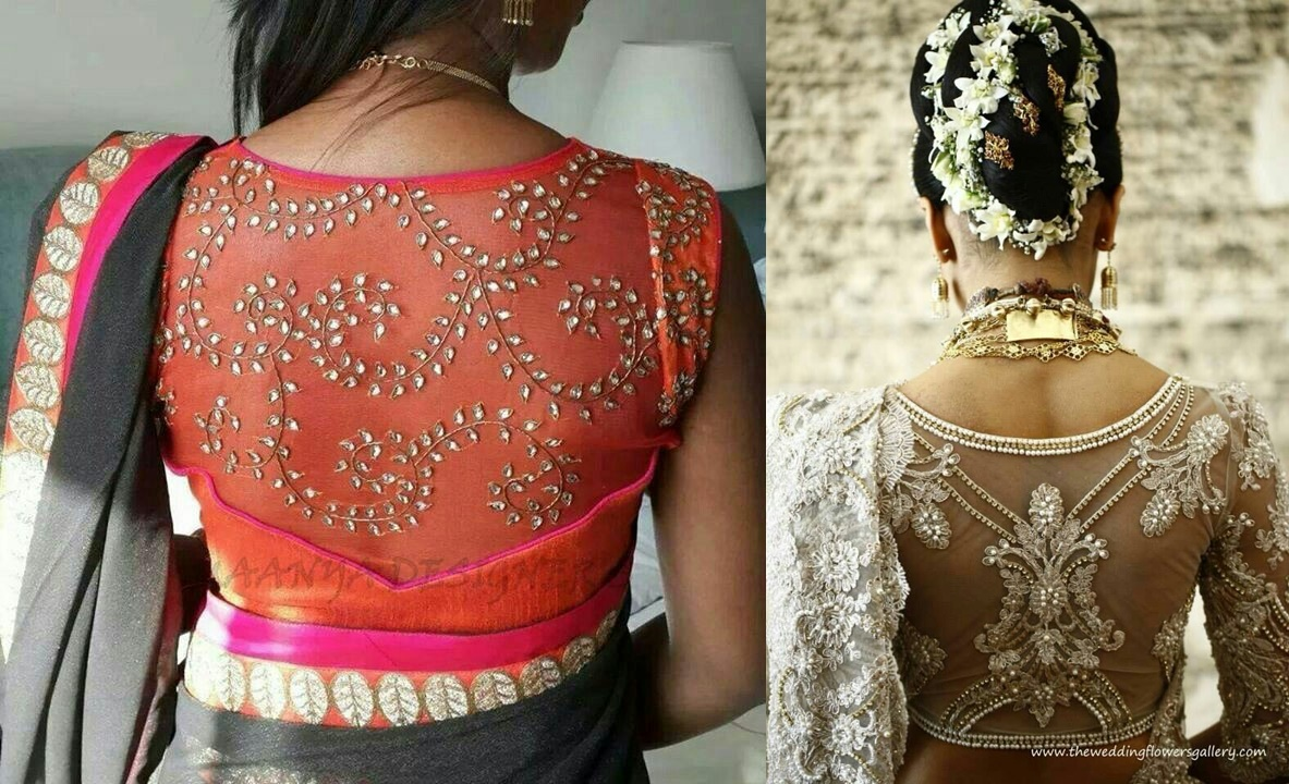 Sheer back blouse design