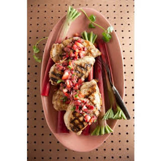 Grilled Chicken with Rhubarb Salsa.