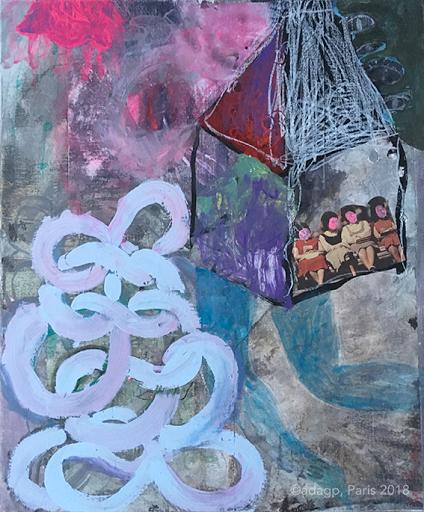 melopee-voyage-voisins-racines-sophie-lormeau-artiste-art-contemporain-figuratif-singulier-colorful-maison-flottante-aerien-jambe-enfance-reve-dream-memoire-ancestral-metamorphose-peinture-acrylique-collage-crayon-papier-magazine-adagp-2018