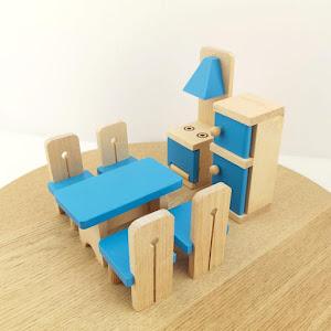 Jucarie de rol - Mobilier bucatarie lemn Onshine, 7 piese