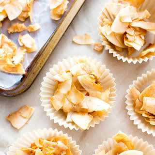 4 Ingredient Salted Caramel Toasted Coconut Chips (Paleo, Vegan, Gluten-Free, Dairy-Free, Refined Sugar-Free).