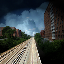 Fast Track by Edward Gold - Digital Art Things ( digital photography, solid clouds, railroad tracks, apartment buildings, trees, digital art,  )