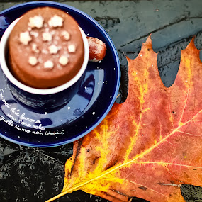 Autumn Breakfast by Cristina Casati - Nature Up Close Leaves & Grasses ( milan, cup of coffe, autumn, breakfast, pwcfalleaves, biscuit )