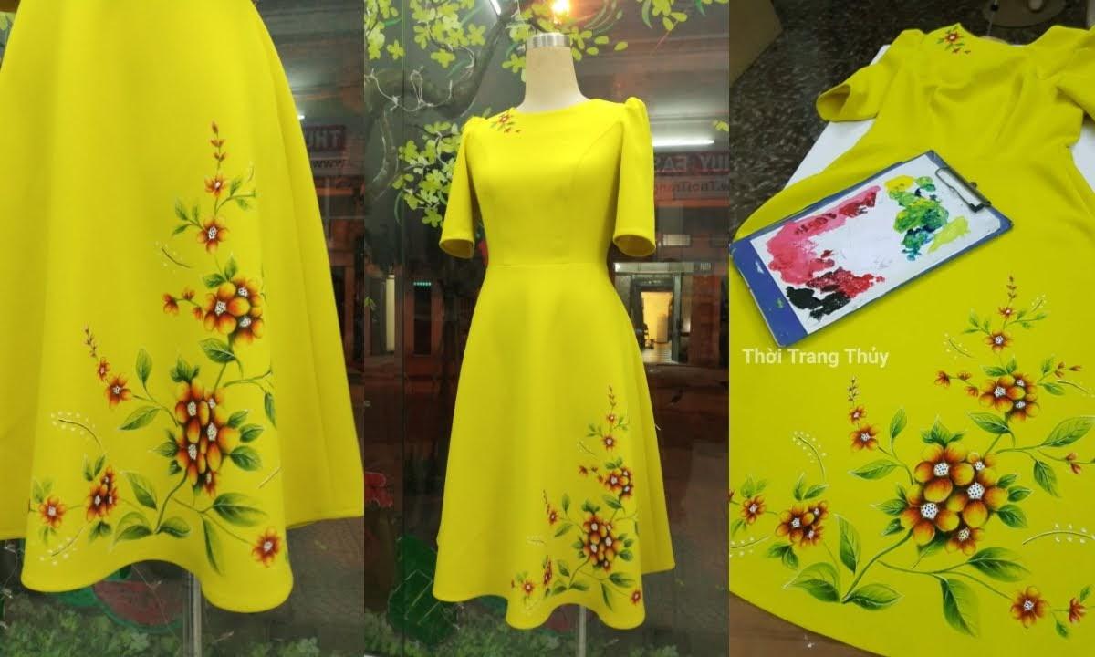 Váy xòe thiên họa tiết hoa vẽ tay V657 thời trang thủy
