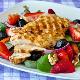 Strawberry Balsamic Salad with Grilled Lime Cumin Chicken and Walnuts Recipe