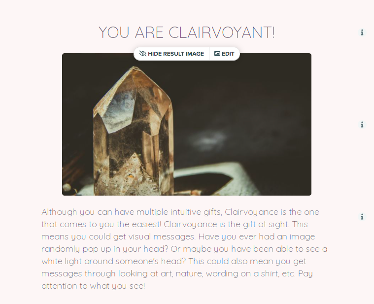 quiz result page for you're clairvoyant