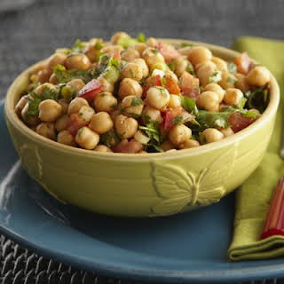 Garbanzo, Tomato and Cilantro Salad with Lime and Chile Dressing.
