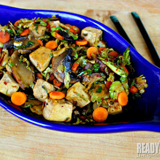 Healthy Tofu Stir Fry with Brussels Sprouts and Portobello.