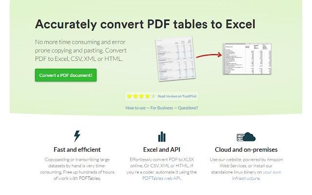 PDFTables - PDF Converter