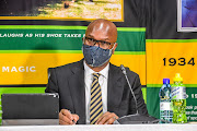 Nathi Mthethwa (Minister of Sport, arts and culture) during the CAF president candidacy press conference at SAFA House on November 09, 2020 in Johannesburg, South Africa.