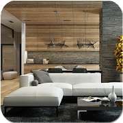Living Room with Wood Feature Wall APK