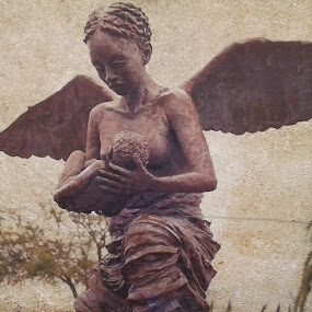 Black Angel with Infant by Denise DuBos - Buildings & Architecture Statues & Monuments ( historic, slavery, houmas house plantation, black angel, infant )