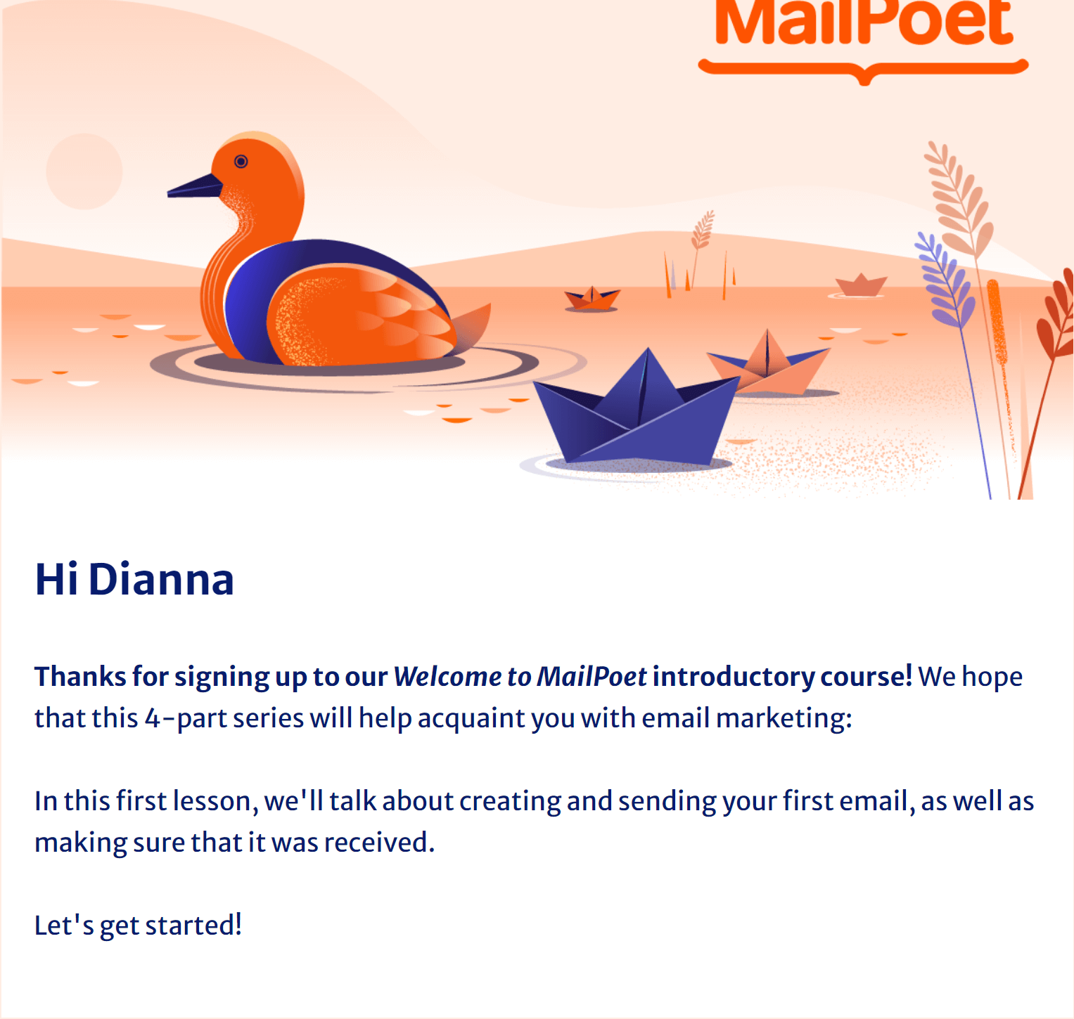 Example of an email course from MailPoet