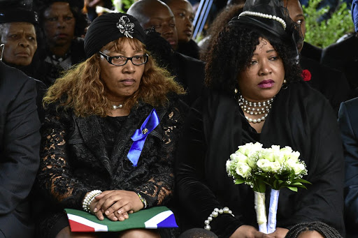 Zenani and Zindzi Mandela (right), pictured in April 2018 at Fourways Memorial Park, Johannesburg, at their mother Winnie Madikizela-Mandela's funeral.