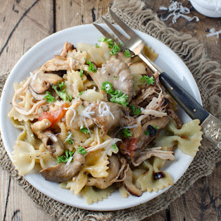 Pasta Rustica with Caramelized Onion, Chicken and Wild Mushrooms.