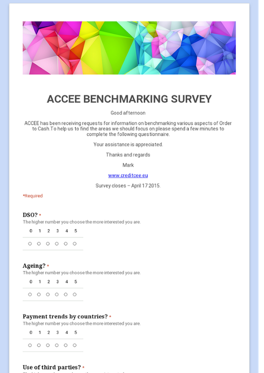 ACCEE BENCHMARKING SURVEY