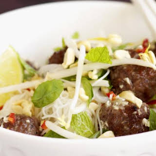 Grilled Meatballs with Rice Noodles.