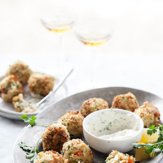 Crab Cake Poppers with Spicy Aioli.