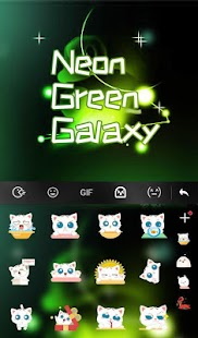 Neon Green Galaxy Keyboard Theme - náhled