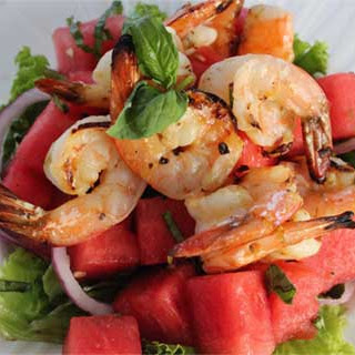 Grilled Shrimp and Basil Watermelon Salad